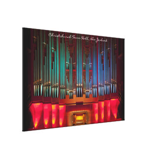 Stunning pipe organ wrapped canvas with title stretched canvas print