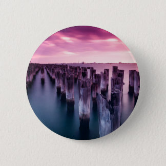 Stunning Princes Pier Port Melbourne at Dusk Pinback Button