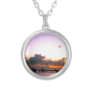 stunning purple gold orange sunset in mexico silver plated necklace