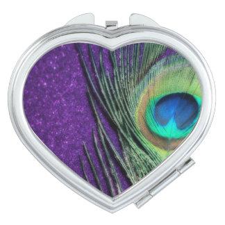 Stunning Purple Peacock Compact Mirror