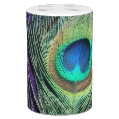Exceptionnel Stunning Purple Peacock Soap Dispenser U0026 Toothbrush Holder