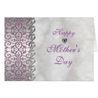 Stunning Purple Silver Damask Hearts Mother's Day Card