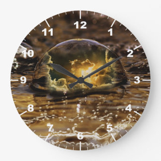 Stunning raindrop with reflexion of silver lining large clock