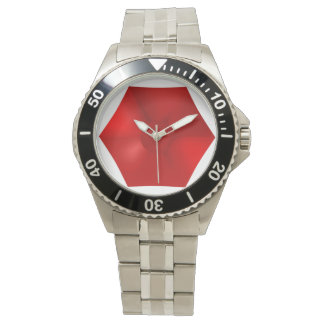 STUNNING RED CLASSIC STAINLESS STEEL WATCH