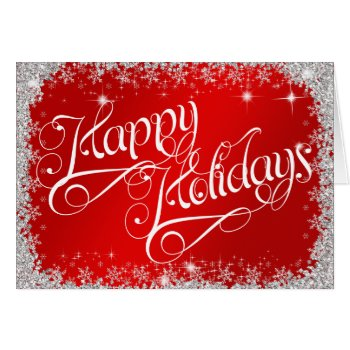 Stunning Red Happy Holidays PERSONALIZED Card