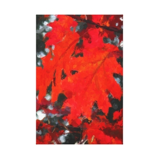 Stunning Red Maple Leaf Painting