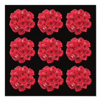 Stunning Red Roses Bouquets Vow Renewal 5.25x5.25 Square Paper Invitation Card