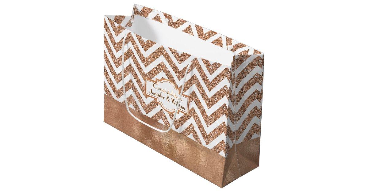 Zazzle Wedding Gift Bags : Stunning Rose Gold Custom Wedding Gift Bag Zazzle