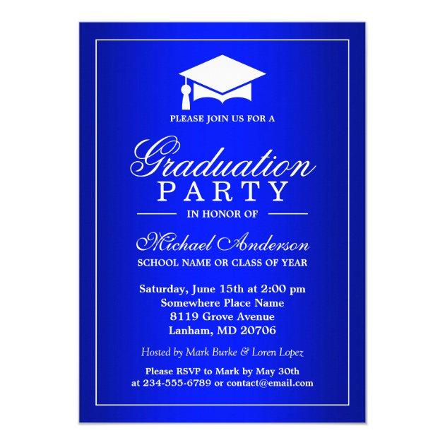 Stunning Royal Blue Gradient Graduate Graduation 5x7 Paper Invitation Card (front side)