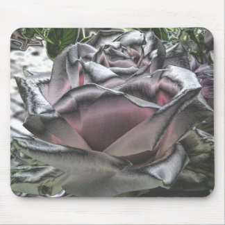 Stunning silver and pink rose mousepad