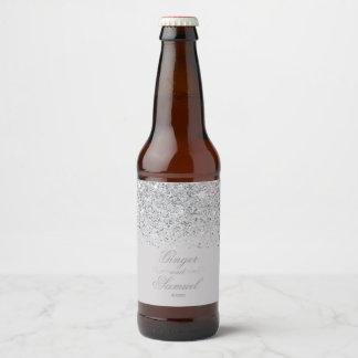 Stunning Silver Glitter Beer Bottle Label