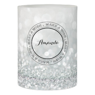 Stunning Silver Glitter Bling Make a Wish Flameless Candle
