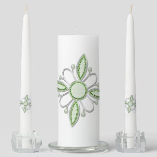 Stunning Silver & Green Emerald Faux Gem Unity Candle Set