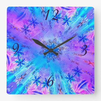 Stunning Snowflakes on Blue and Purple Background Square Wallclocks