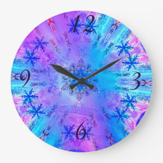 Stunning Snowflakes on Blue and Purple Background Wall Clock