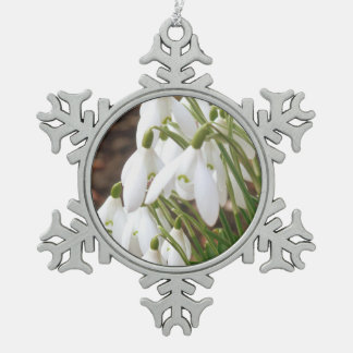 Stunning, Special Snowdrops Snowflake Pewter Christmas Ornament