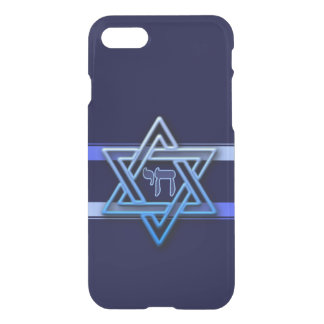 Stunning Star of David and chai on deep blue iPhone 8/7 Case