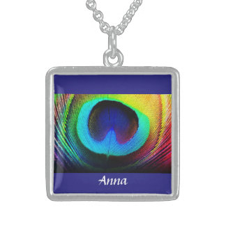 STUNNING STERLING PEACOCK FEATHER - ADD YOUR NAME SQUARE PENDANT NECKLACE