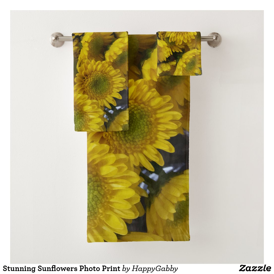 Sunflowers Photo Print towels for bathroom