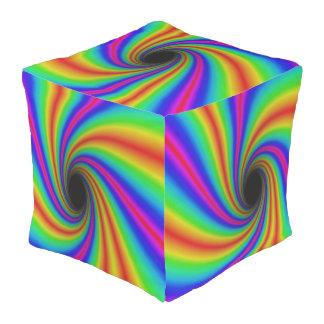Stunning Swirling Rainbow Cube Shape Pouf