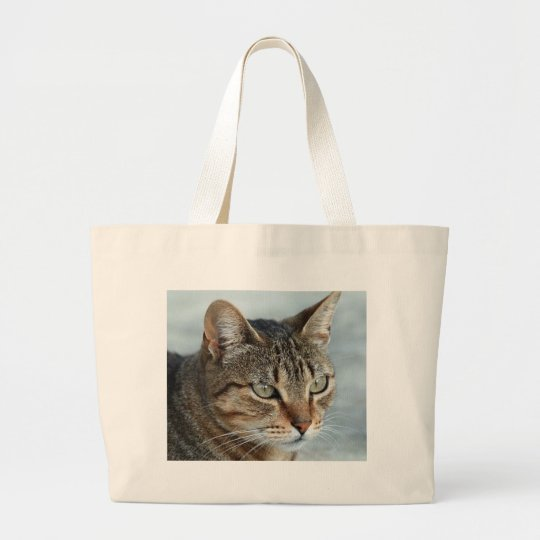 Stunning Tabby Cat Close Up Portrait Large Tote Bag