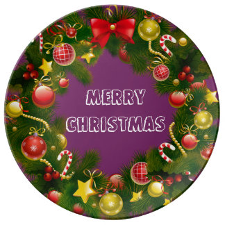 Stunning & Traditional Merry Christmas Wreath Dinner Plate