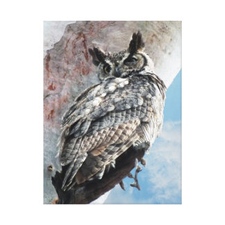 Stunning Unique Great Horned Owl Wrapped Canvas Canvas Print