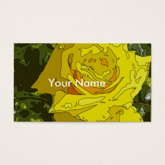 Stunning, Vibrant Yellow Rose Painting Business Card
