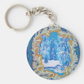 Stunning Vintage Blue Christmas Winter Wonderland Keychain