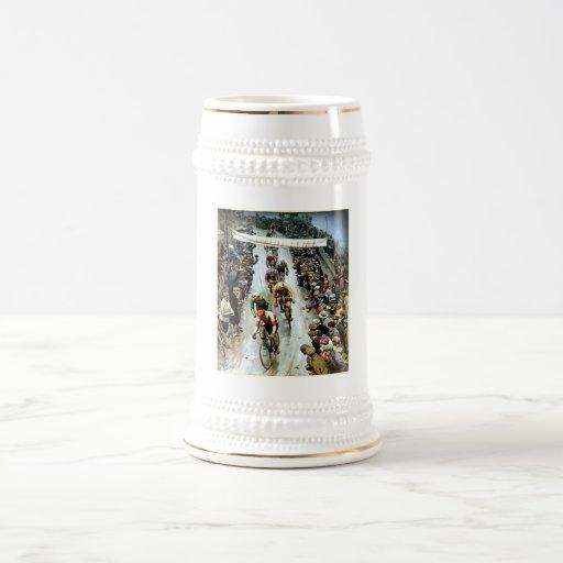 Stunning Vintage Cylcing Gift 18 Oz Beer Stein