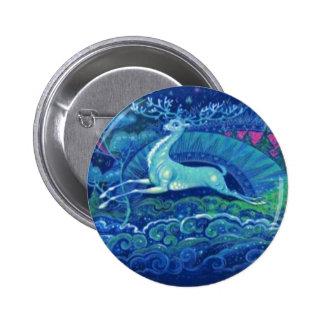 Stunning Vintage Russian Blue Christmas Reindeer Pinback Button