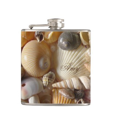 Beach Themed Stunning White & Brown Sea Shells Him or Her Flask