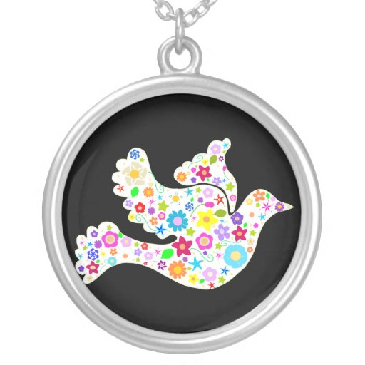 Stunning White Dove of Flowers Necklace