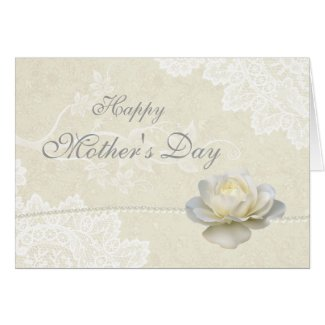 Stunning White Lace Pearls & Rose Mother's Day Card