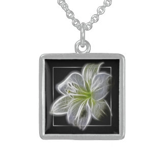 Stunning White Lily fractal Art Square Pendant Necklace