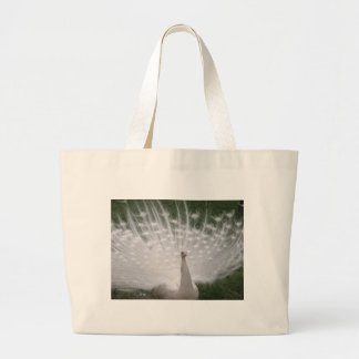 Stunning white Peacock Peafowl full plume Tote Bags