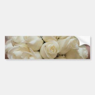 Stunning White Rose Wedding Bouquet Bumper Sticker
