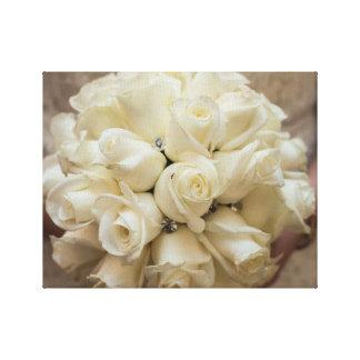 Stunning White Rose Wedding Bouquet Canvas Print