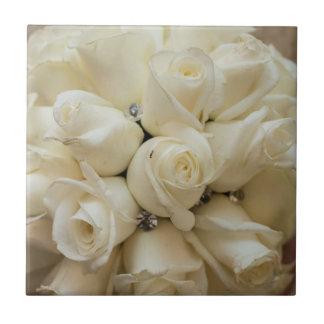 Stunning White Rose Wedding Bouquet Ceramic Tile