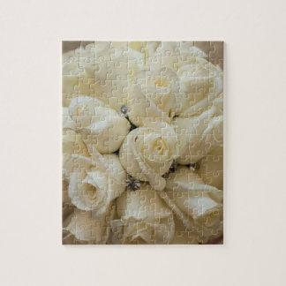 Stunning White Rose Wedding Bouquet Jigsaw Puzzle