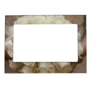 Stunning White Rose Wedding Bouquet Magnetic Frame