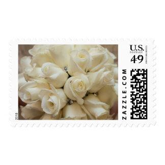 Stunning White Rose Wedding Bouquet Postage