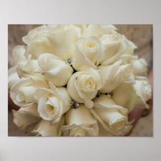 Stunning White Rose Wedding Bouquet Poster