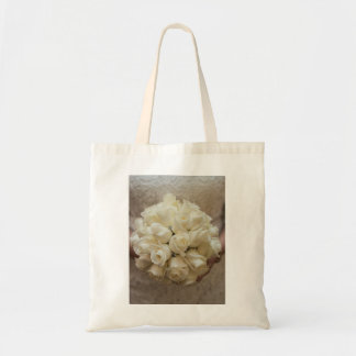 Stunning White Rose Wedding Bouquet Tote Bag