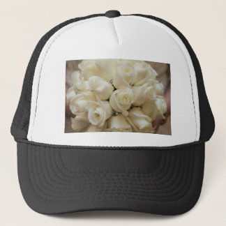 Stunning White Rose Wedding Bouquet Trucker Hat