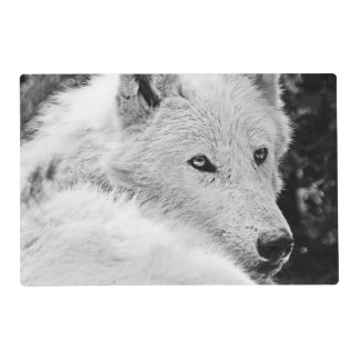 Stunning White Wolf Laminated Placemat