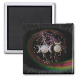 Stunning Wiccan Triple Goddess Cosmic 2 Inch Square Magnet