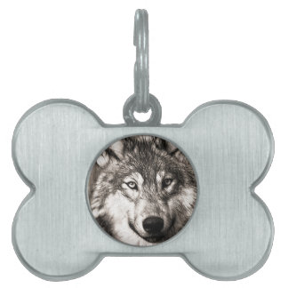 Stunning wolf face photo print accessories therian pet ID tag