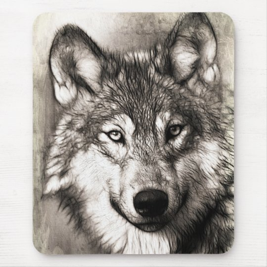 Stunning Wolf Face Sketch Mouse Pad Zazzle Com
