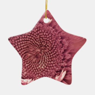 Stunningly Detailed Pink Sunflower Double-Sided Star Ceramic Christmas Ornament
